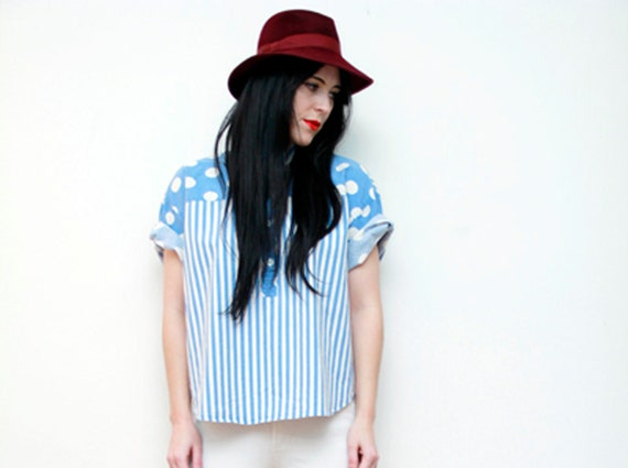 Polka Dot Spot Nautical Shirt Blouse