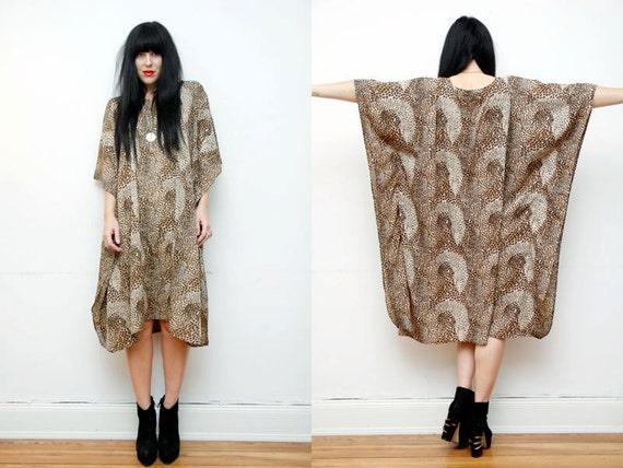 Leopard Print Boho Caftan Maxi Dress