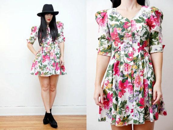 SALE Floral Grunge Boho Tent  Mini Dress 90s