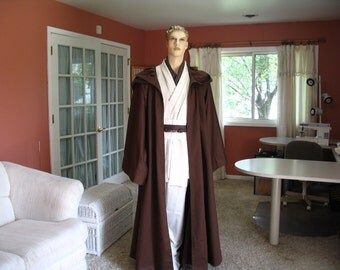 Reserved for Makotoyuno Star Wars Jedi Knight Brown Adult Floor Length Costume Robe Sz. M/L  Handmade