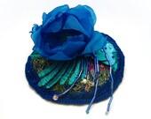 Hat fascinator Blue flower  - Song to the siren - OOAK head piece