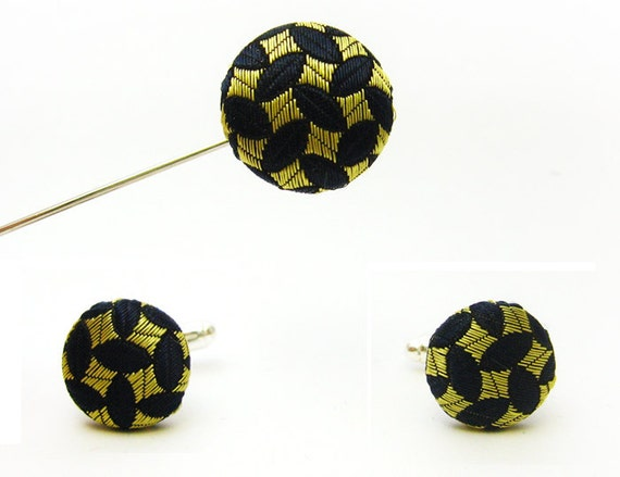 Cuff links and lapel pin set Rice pattern from a vintage silk tie - Limited edition
