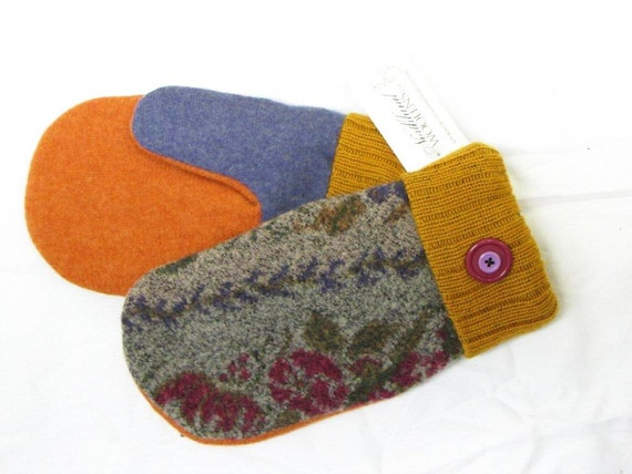 Wool Sweater Mitten Made from Recycled Felted Sweaters, Fleece Lined, Custom Knit Wool Cuff