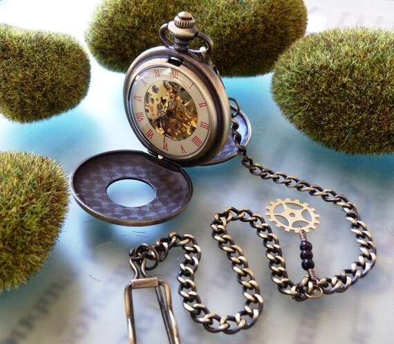 Double Skeleton Pocket Watch on a Pocket Watch Chain