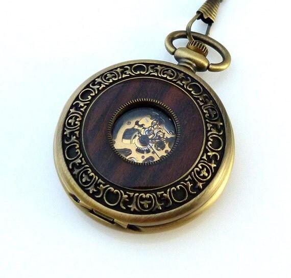 Steampunk Sylvan Ring Skeleton Pocket Watch On a Pocket Watch Chain