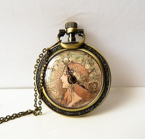 Steampunk Pocket Watch - Woman Image by Alphonse Mucha