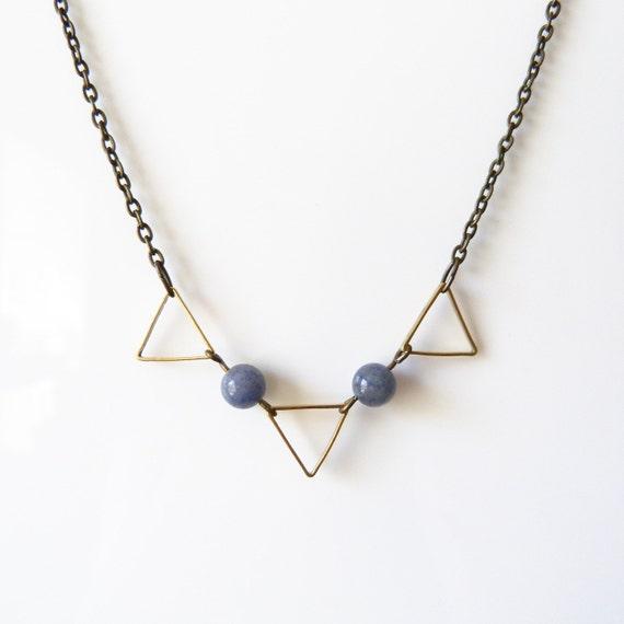 Geometric Triangles and Blue Aventurine Necklace - Geometric Jewelry - Christmas Gift