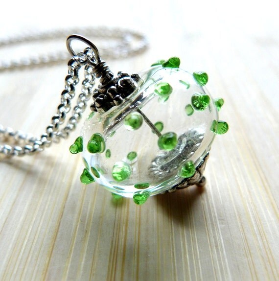 Hand Blown Glass Pendant Necklace Spiky Green Spheroid