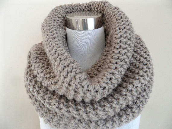 The Taupe Super Soft and Chunky Knit Cowl