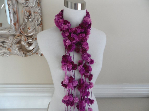 Plum Purple Rose Pom Pom Lariat