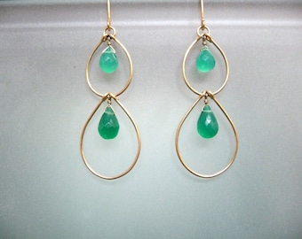 Green Onyx double stacked hoops