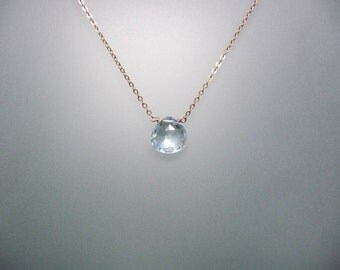 Blue Topaz briolette drop necklace