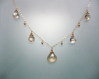 Champagne Quartz Multi Drop Necklace
