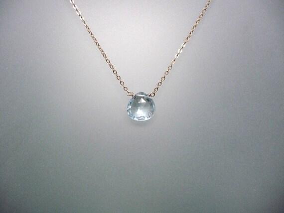 Blue Topaz briolette drop necklace