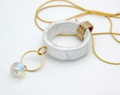 Women's Gift, Wedding ,Gold Necklace with white Satin Hoop and clear Swarovski Crystal,Modern Unique Design