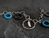 Women's Gift, Silver Bracelet ,Silver Feather Bracelet ,Silver Feather,Silver Hoops Bracelet with nacre Hoops