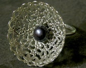 Gift For Women, Halloween Gothic Ring, Halloween Silver Lace Black Pearl Ring, Unique Halloween Ring, Halloween Jewelry