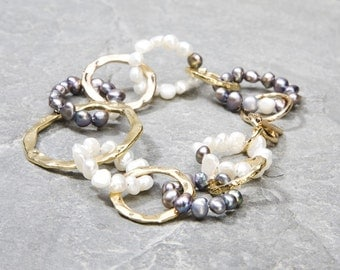 Unique Gift For Her, Gold Hoop Bracelet and Natural Black and White Pearls