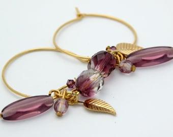 Amethyst Birthstone Earrings,Hoop Earrings,Bead Earrings,Gold Hoops Earrings,Gold Leaf Earrings
