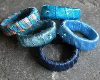 Unique Gift For Her, Stackable Blue Fabric Rings, Stacking rings ,Funky Fabric Ring