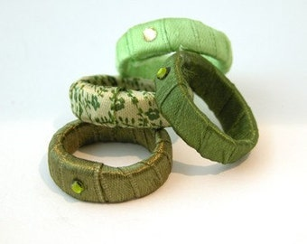 Women's Gift, Stacking rings,Mint Green Ring, Funky Fabric Ring, Stackable Ring