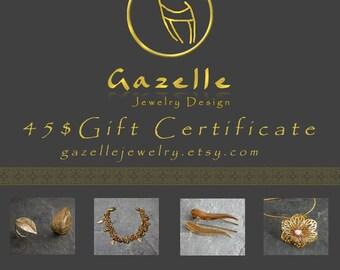 Gift for Women, Gazelle Jewelry 45 Dollars Gift Certificate , Last Minute Gifts