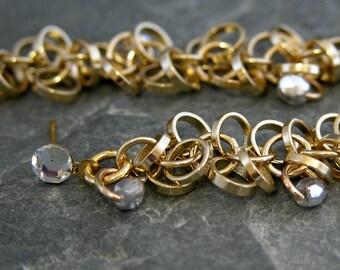 Women's Gift,  Gold Wedding Earrings, Swarovski Crystal Wedding Earrings, Wedding Jewelry, Unique Wedding Earrings