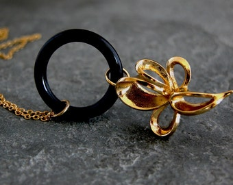 Gold Flower Necklace,Gold Spring Groundsel,gold flower Necklace with black rubber band