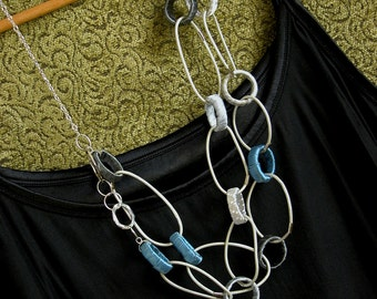 Women's Gift, Fabric Jewelry, Fabric and Leather Circle Grey Blue necklace, Unique Statement Necklace, Unique Jewelry, Statement Jewelry