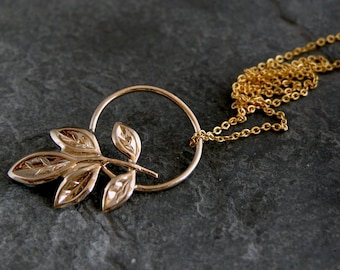 Unique Gift For Her, Gold Leaf Necklace ,Gold Olive Necklace,Gold Olive Leaves Pendant, Dainty Necklace,Leaf Charm Necklace