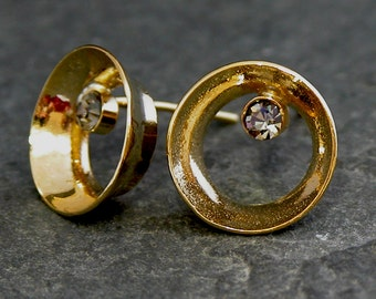 Gold Stud Earrings , Gold Hollow Round Stud Earrings with Smoky diamond