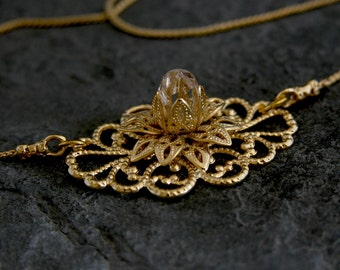 Women's Gift, Bridal Wedding Necklace ,Gold Necklace,Gold Filigree Flower Necklace,Bridal Crystal Necklace,Wedding Necklace