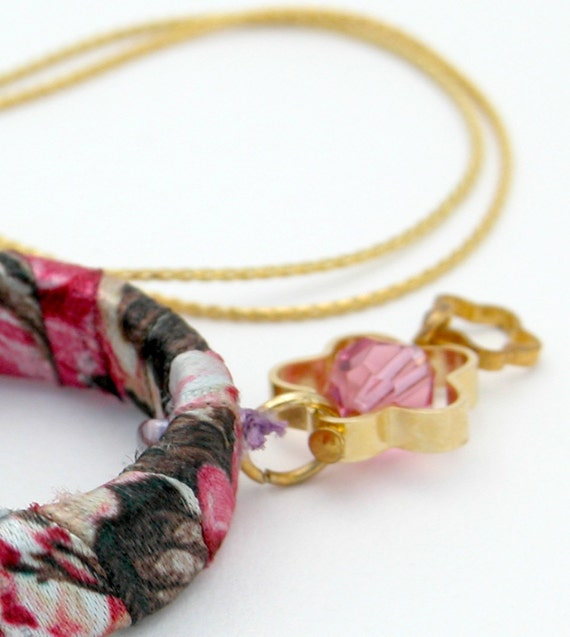 Gift For Women, Colorful Satin Hoop Fabric Gold Necklace, Hoop Fabric Necklace, Fabric Jewelry Necklace