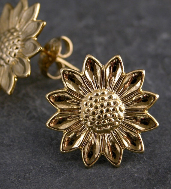 Sunflower Gold Earrings - Gold Sunflower Stud Earrings