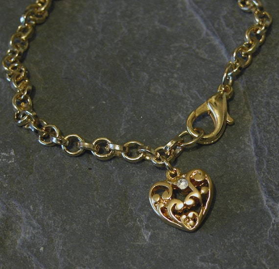 Gift For Women, Gold Heart Bracelet with Sparkling Clear Swarovski Crystal, Unique Hear pendant, Love Necklace