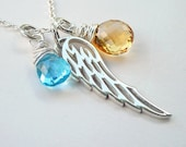 Icarus Necklace No. 1 - citrine, blue topaz, angel wing charm, silver