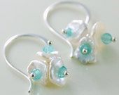 Pearl Earrings Keishi Keshi Freshwater Cluster Aqua Apatite Gemstone Wire Wrapped Sterling Silver Jewelry Complimentary Shipping