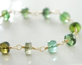 Green Tourmaline Bracelet Semiprecious Gemstone Shaded Vermeil Leaf Wire Wrapped Gold Jewelry Complimentary Shipping