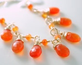 Carnelian Bib Necklace Orange Drops Wire Wrapped Elegant Gold Semiprecious Gemstone Jewelry Bright Tangerine Tango Complimentary Shipping