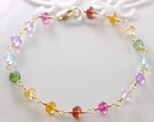 Rainbow Bracelet Gemstone Semiprecious Stone Colorful Fun Gold Jewelry Complimentary Shipping