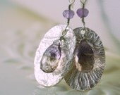Ametrine Earrings Sterling Silver Textured Discs Semiprecious Gemstone Wire Wrapped Jewelry Complimentary Shipping