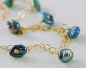 Gold Anklet Indigo Blue Keshi Keishi Freshwater Pearls Iolite Gemstone Jewelry Anklet Bracelet Complimentary Shipping