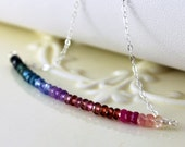 Colorful Gemstone Necklace Shaded Row Jewel Tones Pink Blue Purple Red Green Sterling Silver Jewelry Complimentary Shipping