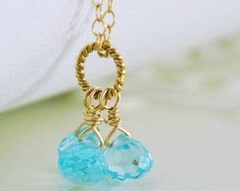 Blue Topaz Necklace, Trio Semiprecious Onion Gemstone, Wire Wrapped, December Birthstone, Gold Jewelry, Free Shipping