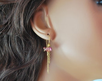 Gemstone Earrings Rose Pink Topaz Semiprecious Stone Gold Jewelry Delicate Pretty Chains Complimentary Shipping