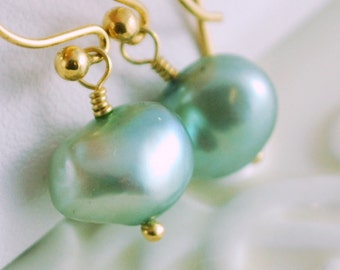 Mint Green Earrings, Genuine Natural Freshwater Pearl, Simple Pretty, Pastel Drop, Sterling Silver or Gold Jewelry, Free Shipping