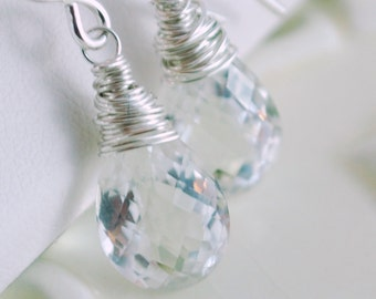 Rock Crystal Quartz Earrings, Wire Wrapped, Pan Cut, Semiprecious Gemstone, Under 25, Sterling Silver Jewelry, Free Shipping