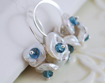 London Blue Topaz Earrings Teal Gemstone Semiprecious Blossom Flower Keishi Pearl December Birthstone Sterling Silver Complimentary Shipping