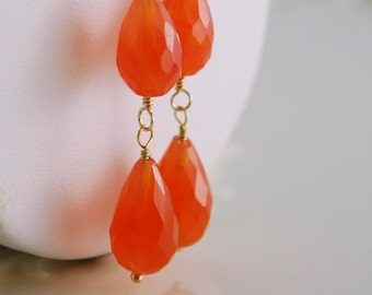 Long Tangerine Dangle Earrings, Carnelian, Bright Orange Jewelry, Genuine Gemstone, Gold, Wire Wrapped, Free Shipping