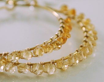 Hoop Earrings Gemstone Genuine Golden Citrine Shaded Ombre November Birthstone Wire Wrapped Gold Jewelry
